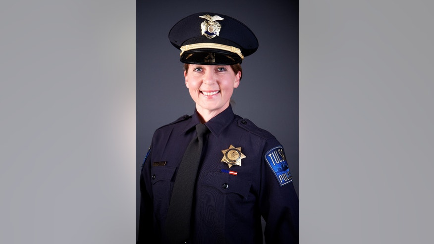 This undated photo provided by the Tulsa Oklahoma Police Department shows officer Betty Shelby. Police say Tulsa officer Shelby fired the fatal shot that killed 40 year-old Terence Crutcher, Sept. 16, 2016. The police chief in Tulsa says Crutcher, a black man fatally shot by a white police officer responding to a stalled vehicle, had no weapon on him or in his SUV. Police Chief Chuck Jordan said Monday Sept. 19, 2016, that an investigation is underway into the shooting death. (Tulsa Police Department via AP)