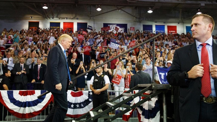 Republican presidential candidate Donald Trump arrives to speak at a campaign rally at High Point University, Tuesday, Sept. 20, 2016, in High Point, N.C. (AP Photo/ Evan Vucci)