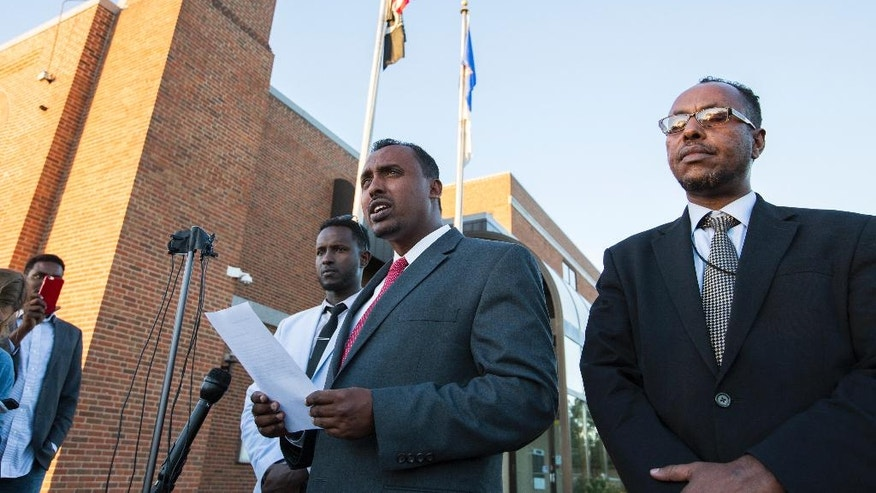 Abdulwahid Osman, the lawyer for the family of Dahir Ahmed Adan, speaks during a news conference at St. Cloud City Hall in St. Cloud, Minn., Monday, Sept. 19, 2016. Adan went to a central Minnesota mall and cut or stabbed 10 people before he was shot and killed by an off-duty police officer on Saturday. (Leila Navidi/Star Tribune via AP)