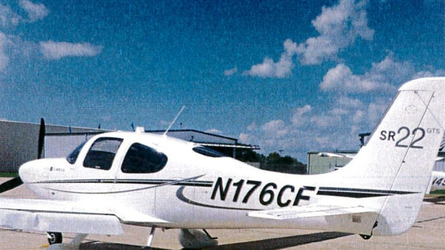 "This undated photo provided by the Bloomington Normal Airport Authority shows a damaged wing of a Cirrus SR22 single engine plane at the Central Illinois Regional Airport in Bloomington, Ill. Iowa State University President Steven Leath caused ""substantial damage"" to the university airplane he was piloting when it made a hard landing at the Illinois airport last year — a costly incident kept quiet for 14 months.  (Bloomington Normal Airport Authority via AP)"