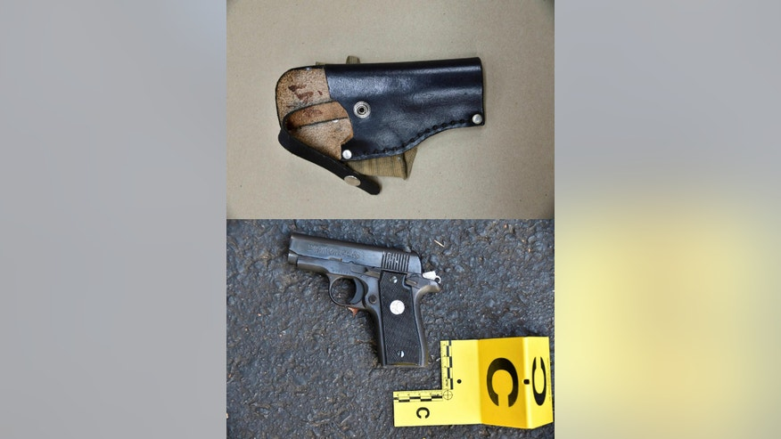 This combination of photos provided by the Charlotte-Mecklenburg Police Department on Saturday, Sept. 24, 2016 shows an ankle holster, top, and gun which police say were in Keith Scott's possession at the time he was fatally shot by police in Charlotte, N.C., on Sept. 20, 2016. (Charlotte-Mecklenburg Police Department via AP)