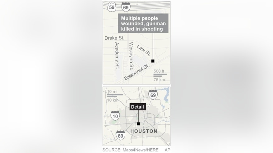 Map locates a strip mall shooting in Houston, Texas; 1c x 3 1/2 inches; 46.5 mm x 88 mm;