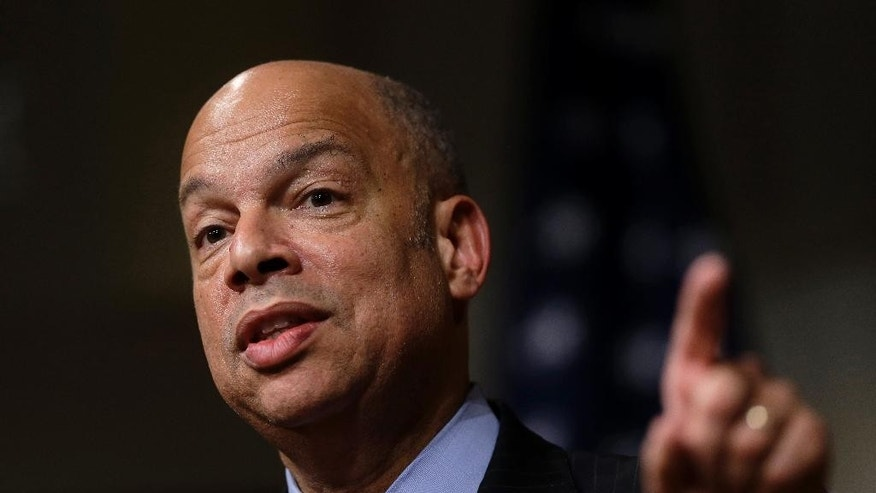 FILE - In this March 21, 2016, file photo, Homeland Security Secretary Jeh Johnson addresses an audience during a forum at John F. Kennedy School of Government on the campus of Harvard University, in Cambridge, Mass. Bombings in New York and New Jersey, and a stabbing attack in Minnesota the same day, underscore that homegrown attacks inspired by violent extremists are as much a threat to the United States as those directed by terrorists, the nation's Homeland Security chief said. Johnson said the U.S. should be 'building bridges to diverse communities' to defend the homeland. (AP Photo/Steven Senne, File)