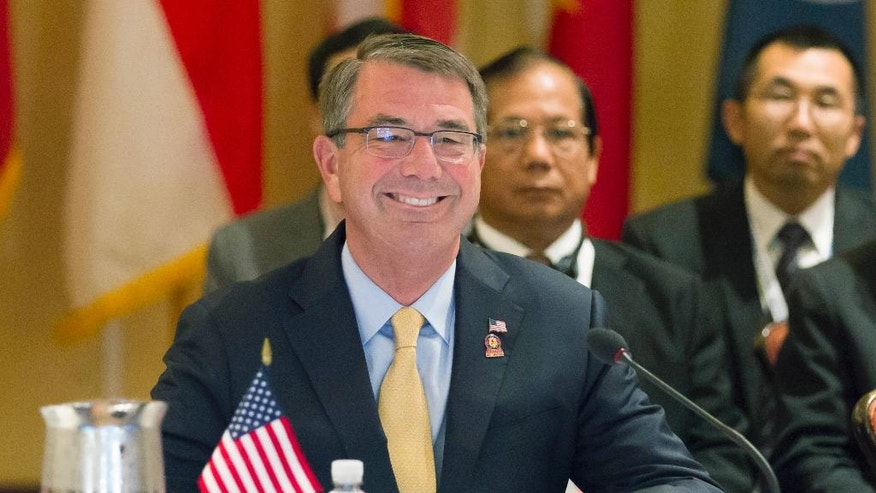 U.S. Secretary of Defense Ash Carter gives his opening remarks for the Association of Southeast Asian Nations (ASEAN) defense ministers meeting in Ko Olina, Hawaii, on Friday, Sept. 30, 2016. (AP Photo/Eugene Tanner)
