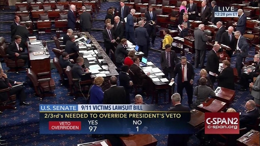 "FILE- In this Sept. 28, 2016 image taken from video and provided by C-SPAN2, the floor of the Senate on Capitol Hill in Washington is shown as the Senate acted decisively to override President Barack Obama's veto of Sept. 11 legislation. Although Congress has allowed Sept. 11 victims to sue Saudi Arabia over claims it had a role in the terror attacks, a federal judge has blasted the legal case at the heart of the debate as notoriously weak and full of ""largely boilerplate"" accusations. And the revised law that passed this week over President Barack Obama's veto gives the Justice Department sweeping authority to put the case on hold and fails to eliminate sovereign immunity from protecting Saudi Arabia assets. (C-SPAN2 via AP, File)"