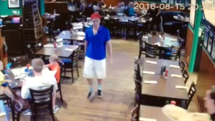Austin Harrouff seen leaving a restaurant before the alleged attack in August.