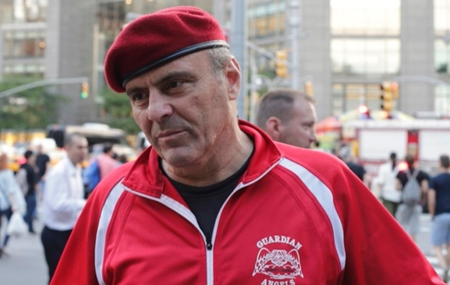 Guardian Angels founder Curtis Sliwa responds to questions during a news interview Wednesday, Aug. 12, 2015, in New York. Guardian Angels volunteers made a return this month to Central Park for the first time in over two decades, citing a 26 percent rise in crime there so far this year. (AP Photo/Frank Franklin II)