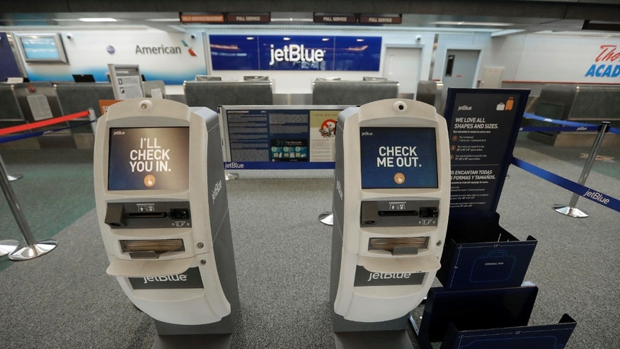 The jetBlue ticket and kiosk counter at the Daytona International Airport in Daytona Beach, Fla.