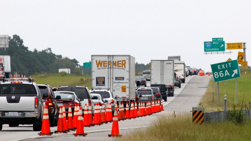 Interstate 95 outside Charleston as people along the coast evacuate ahead of Hurricane Matthew.