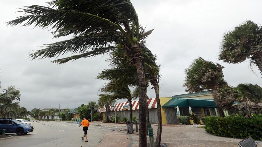 Palm trees sway in high gusts of wind, Thursday, Oct. 6, 2016, in Vero Beach, Fla. Hurricane Matthew continues to make a path for Florida's east coast from the Bahamas. (AP Photo/Lynne Sladky)