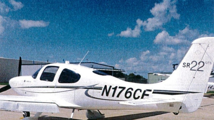 "This undated photo provided by the Bloomington Normal Airport Authority shows a damaged wing of a Cirrus SR22 single engine plane at the Central Illinois Regional Airport in Bloomington, Ill. Iowa State University President Steven Leath caused ""substantial damage"" to the university airplane he was piloting when it made a hard landing at the Illinois airport last year. ISU pilots have flown Leath and his wife to and from the North Carolina town where they own a home and business on several occasions, costing thousands of dollars in university donations.  (Bloomington Normal Airport Authority via AP)"