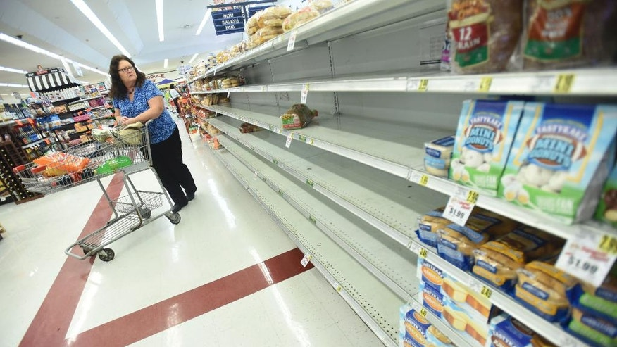 Mary Stanley looks at the empty shelves on a bread isle at the Piggly Wiggly grocery store in Leland, N.C., on Wednesday, Oct. 5, 2016. Forecasters said Hurricane Matthew could hit Florida — or come dangerously close — late Thursday or early Friday and then scrape the East Coast all the way up to the Carolinas over the weekend.  (Ken Blevins/The Star-News via AP) /The Star-News via AP)