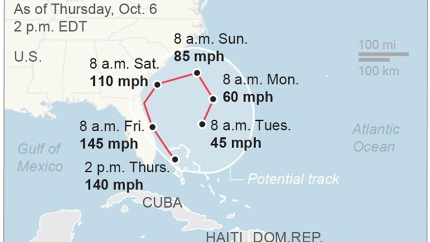 Map locates Hurricane Matthew's potential path; 2c x 2 1/2 inches; 96.3 mm x 63 mm;