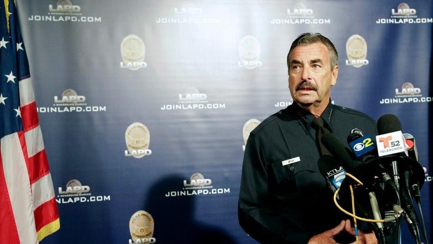 FILE - In this Oct. 4, 2016, file photo, Los Angeles Police Chief Charlie Beck speaks during a news conference in Los Angeles.  A 16-year-old boy shot dead last weekend as he pointed a fake gun at police in Los Angeles wanted to kill himself, Chief Beck said Thursday, Oct. 6, 2016. (AP Photo/Nick Ut, File)