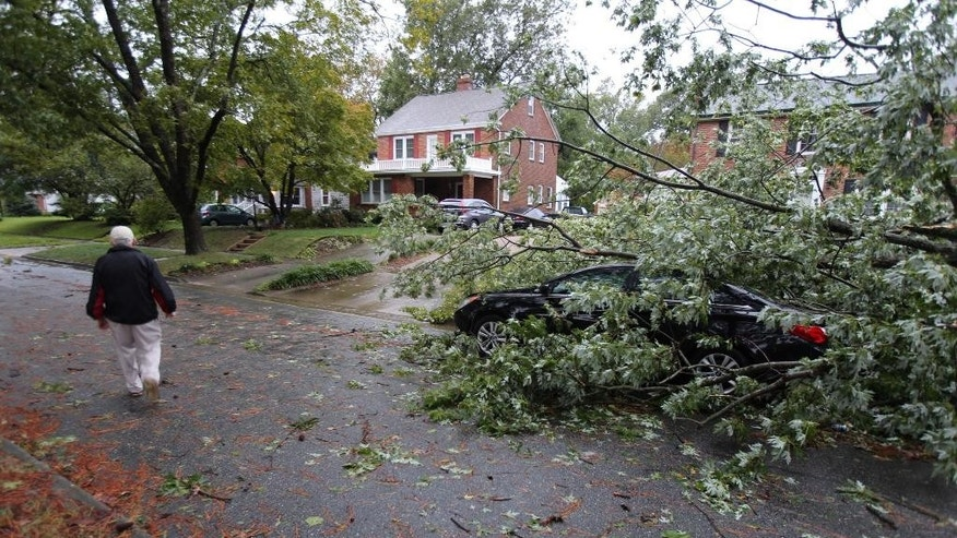 A fallen tree on Rivermont Drive in Newport News, Va., covers a new car owned by Skip Williams of Newport News. Williams moved the car overnight to avoid another tree he thought might fall but was unlucky after this tree fell atop his new car. (Adrin Snider/Daily Press  via AP)