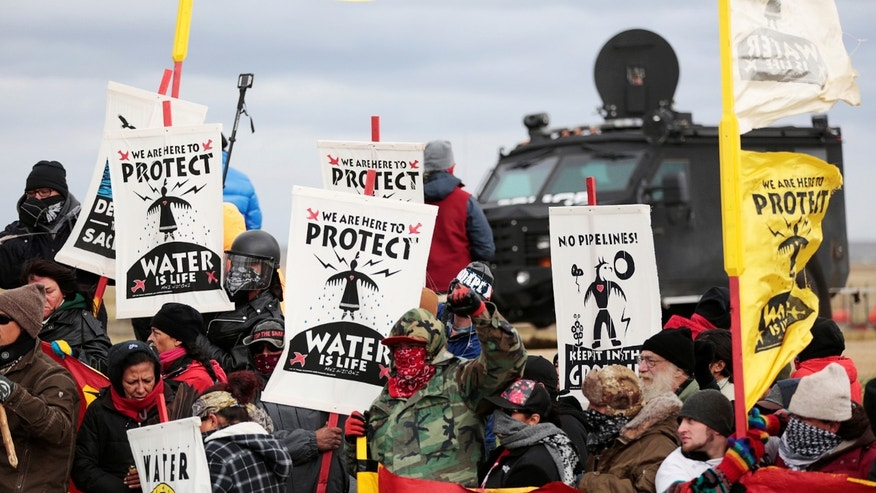 Native Americans protesting the Dakota Access oil pipeline
