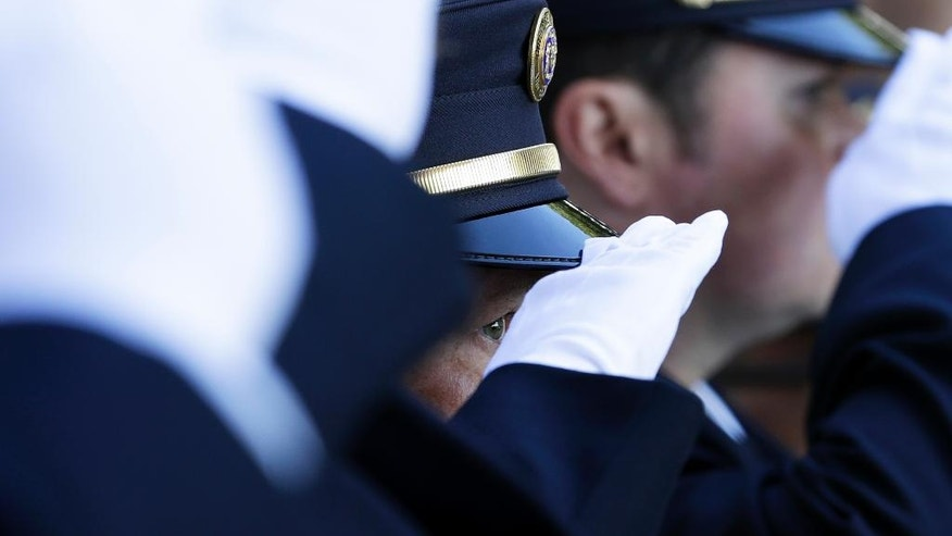 Firefighters salute during a ceremony at the New York State Fallen Firefighters Memorial at the Empire State Plaza on Tuesday, Oct. 11, 2016, in Albany, N.Y. The names of eight firefighters who died in the line of duty were added to the memorial. (AP Photo/Mike Groll)