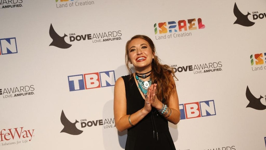 Lauren Daigle at the 47th Annual GMA Dove Awards at Lipscomb University's Allen Arena on Tuesday, Oct. 11, 2016,  Nashville, Tenn. (Photo by Donn Jones/Invision/AP)