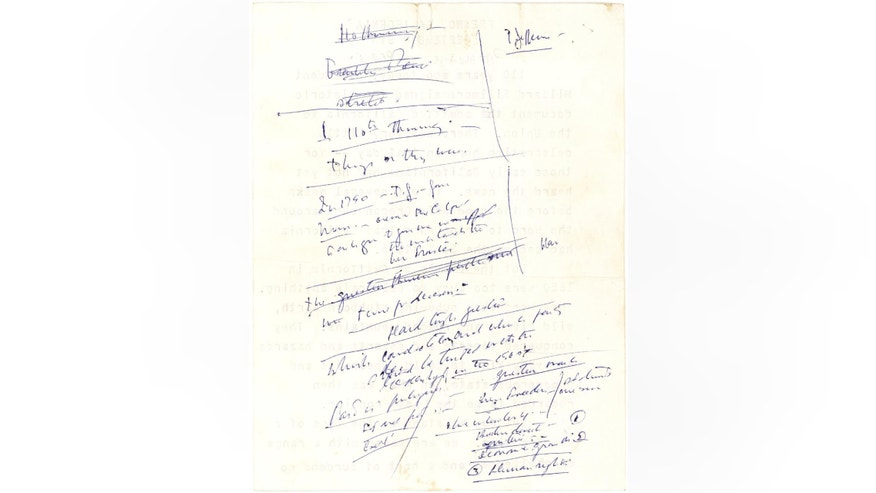 "This undated photo provided by Lion Heart Autographs on Wednesday, Oct. 12, 2016 shows John F. Kennedy's scribbled notes for a 1960 campaign speech referencing his famous campaign slogan ""The New Frontier."" For a Oct. 26, 2016 auction, its pre-sale estimate is $2,500 to $3,500. (Lion Heart Autographs via AP)"