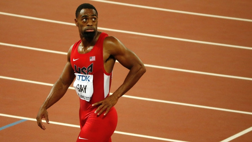 Tyson Gay leaves the track after an events at the World Athletics Championships in 2015.