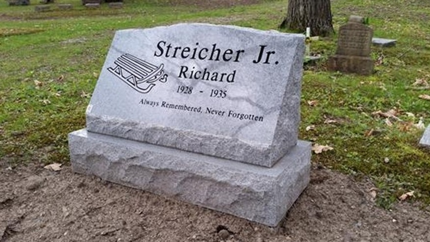 The new headstone for a 7-year-old boy whose murder has gone unsolved for more than 80 years. (Robison-Bahnmiller Funeral Home)