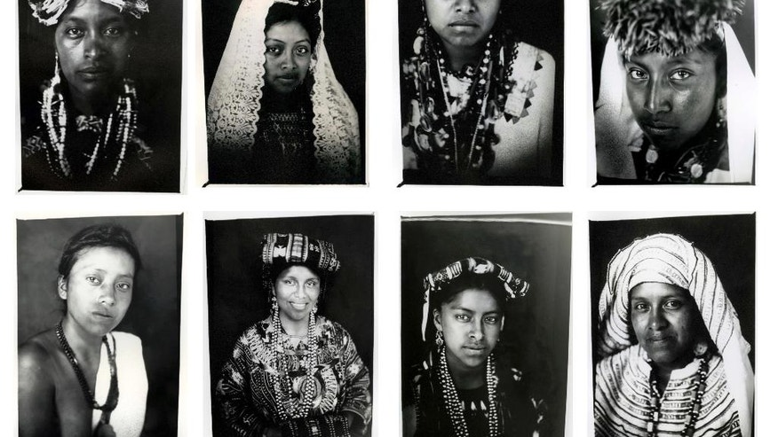 FILE - In this combo of eight file photos taken July 29, 2011, Mayan Queens representing Guatemalan states pose for portraits taken with a 19th century style box camera during the Rabin Ajau National Folkloric Festival in Coban, Guatemala. Photographer Rodrigo Abd of The Associated Press and three other journalists in Brazil, Colombia and El Salvador won the 2016 Maria Moors Cabot Prize, which recognizes excellence in coverage of Latin America and the Caribbean. (AP Photo/Rodrigo Abd, File)