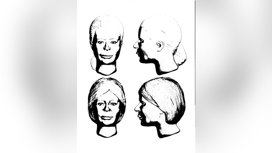 FILE – This file sketch drawn Oct. 3, 2016, by Delaware County Sheriff's Office criminal analyst Brook Segaard for the Marion County Sheriff's Office in Marion, Ohio, is meant to show a still-unidentified woman believed to be the first victim of an Ohio man linked to four killings. Investigators trying to identify the alleged first victim of Shawn Grate say they've received 10 to 15 tips in the month since Grate described killing a magazine seller in her mid-20s around 2005 in Marion County, Ohio, but authorities still don't know the name of the woman whose body was found in 2007. (Delaware County Sheriff's Office via AP, File)