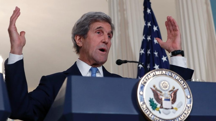 Secretary of State John Kerry gestures during a media availability with South Korean Foreign Minister Yun Byung-se, Wednesday, Oct. 19, 2016, at the State Department in Washington. (AP Photo/Alex Brandon)