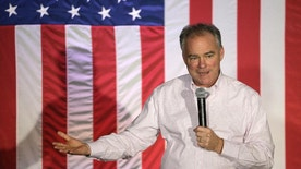 Democratic vice presidential candidate, Sen. Tim Kaine, D-Va., speaks during a campaign rally in Charlotte, N.C., Thursday, Oct. 20, 2016. (AP Photo/Chuck Burton)
