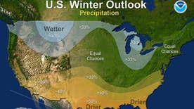 This map provided by NOAA shows the winter precipitation outlook for the U.S. Federal forecasters say thanks to a nascent La Nina it is likely to be warmer and drier than normal down south, colder and wetter up north and in the middle it's hard to say what's going to happen, sort of meh.