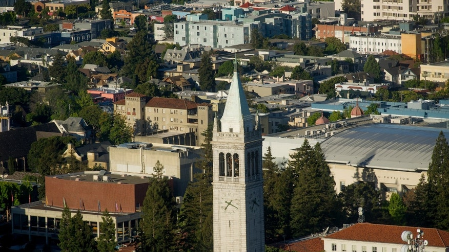 Sather Tower rises above the University of California at Berkeley campus.