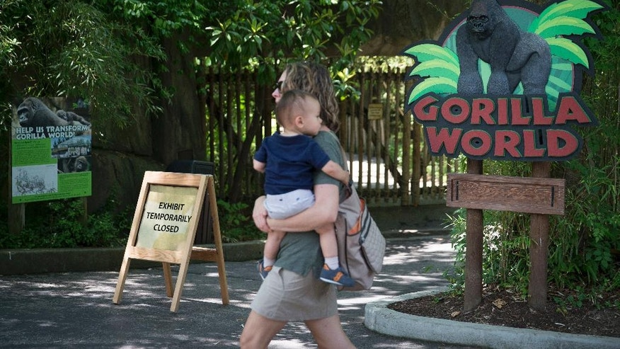 FILE – In this May 29, 2016, file photo, a visitor with a small child passes outside the shuttered Gorilla World exhibit at the Cincinnati Zoo & Botanical Garden in Cincinnati. The director of the Cincinnati Zoo & Botanical Garden, Thane Maynard, said Monday, Oct. 24, 2016, that attendance wasn't significantly affected after a 17-year-old gorilla named Harambe was shot and killed May 28, 2016, when a 3-year-old boy fell into the gorilla's enclosure. (AP Photo/John Minchillo, File)