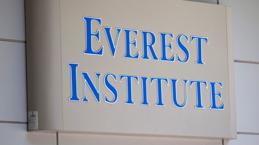 FILE - In this July 8, 2014 file photo, an Everest Institute sign is seen in a office building in Silver Spring, Md.