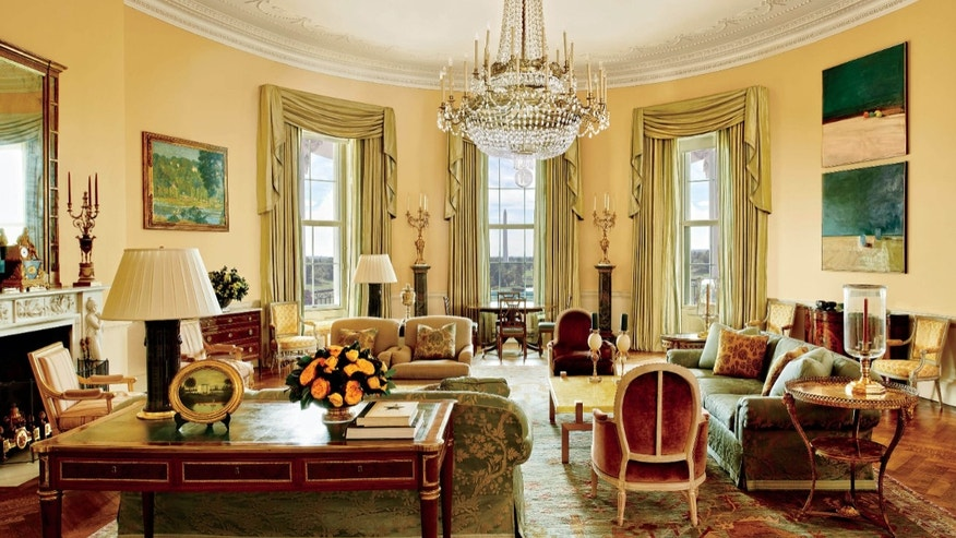 The image provided by Architectural Digest shows the Yellow Oval Room in the White House.