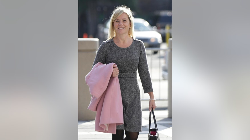 New Jersey Gov. Chris Christie's former Deputy Chief of Staff Bridget Anne Kelly arrives at Martin Luther King, Jr., Federal Court, Wednesday, Nov. 2, 2016, in Newark, N.J. Jurors concluded their first full day of deliberations in the George Washington Bridge lane-closing case Tuesday without reaching a verdict. (AP Photo/Julio Cortez)