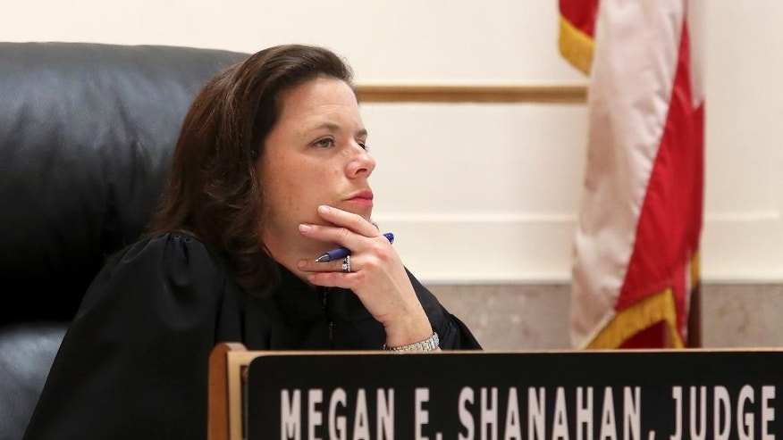 Common Pleas Court Judge Megan Shanahan presides over the Ray Tensing trial at the Hamilton County Courthouse, Wednesday, Nov. 2, 2016, in Cincinnati. Tensing is charged with the murder of Sam DuBose while on duty during a routine traffic stop on July 19, 2015. (Cara Owsley/The Cincinnati Enquirer via AP, Pool)