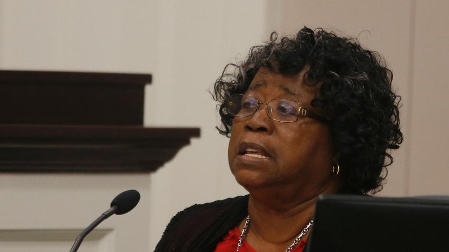 Judy Scott, the mother of Walter Scott, speaks in the courtroom during the trial of North Charleston Police Officer Michael Slager, Thursday, Nov. 3, 2016 in Charleston, S.C. Slager faces 30 years to life if convicted of murder in the April 2015 death of Scott, whose shooting, captured on a bystander's dramatic cellphone video, spread on social media and stunned the nation. (Grace Beahm/Post and Courier via AP, Pool, File)