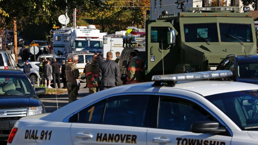 Police vehicles line streets of the Canonsburg, Pa., neighborhood where two Canonsburg police officers were shot when they responded to a domestic call early in Canonsburg, Pa., Thursday, Nov. 10, 2016. (AP Photo/Gene J. Puskar)