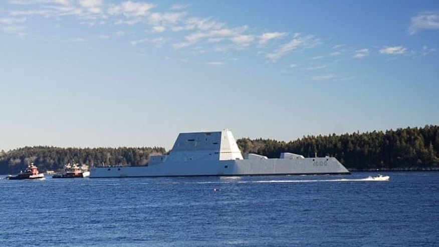 In this Dec. 7, 2015, file photo, the USS Zumwalt travels down the Kennebec River in Phippsburg, Maine.