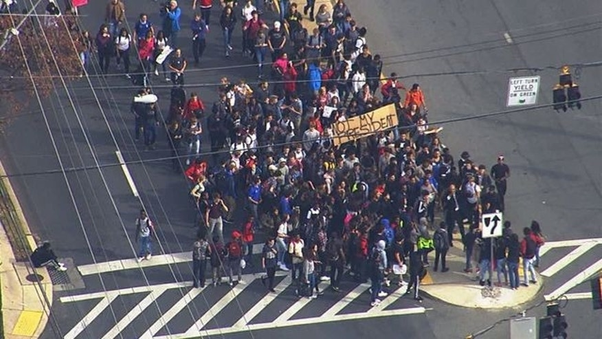 Students walking out of Montgomery Blair High School in Maryland.