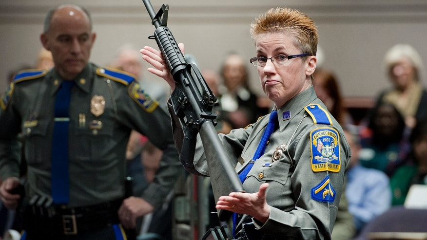 In this Jan. 28, 2013, file photo, firearms training unit Detective Barbara J. Mattson, of the Connecticut State Police, holds up a Bushmaster AR-15 rifle, the same make and model of gun used by Adam Lanza in the Sandy Hook School shooting, for a demonstration during a hearing of a legislative subcommittee reviewing gun laws, at the Legislative Office Building in Hartford, Conn.