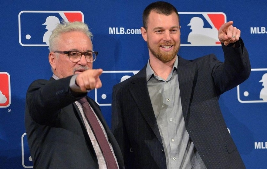 Dec 9, 2015; Nashville, TN, USA; Chicago Cubs manager Joe Maddon stands with newly signed infielder Ben Zobrist at a press conference during the MLB winter meetings at Gaylord Opryland Resort. Mandatory Credit: Jim Brown-USA TODAY Sports