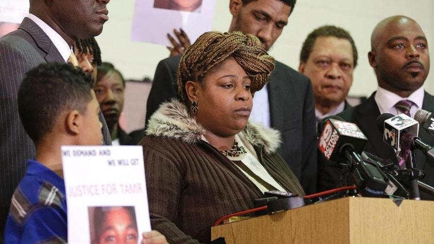 FILE – In this Dec. 8, 2014, file photo, Samaria Rice, whose 12-year-old son Tamir Rice was fatally shot by a white Cleveland police officer on Nov. 22, 2014, speaks during a news conference in Cleveland. Samaria Rice told The Associated Press on Wednesday, Nov. 16, 2016, that she's trying to find a path forward for her family, and working to create a foundation in Tamir's name using part of a $6 million settlement with the city. (AP Photo/Tony Dejak, File)