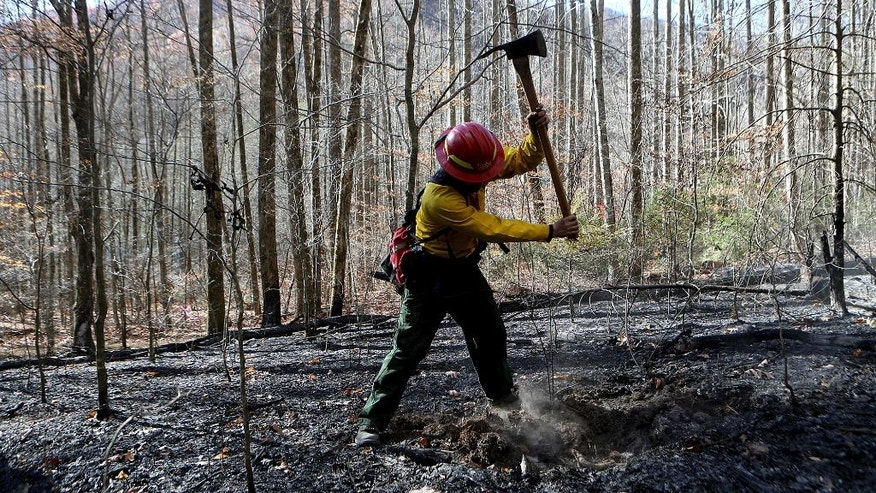 Firefighter Cody Henderson, of New Mexico, works on a hot spot near Clayton, Ga., as he fights wildfires, Monday, Nov. 21,2016. (Curtis Compton/Atlanta Journal-Constitution via AP)