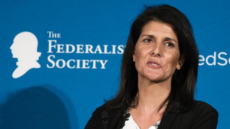 In this photo taken Nov. 18, 2016, South Carolina Gov. Nikki Haley speaks in Washington. President-elect Donald Trump choice for United Nations ambassador, Haley, has limited foreign policy experience. That's in contrast to other U.N. ambassadors who had deep roots in international affairs at the time of their nominations. (AP Photo/Cliff Owen)