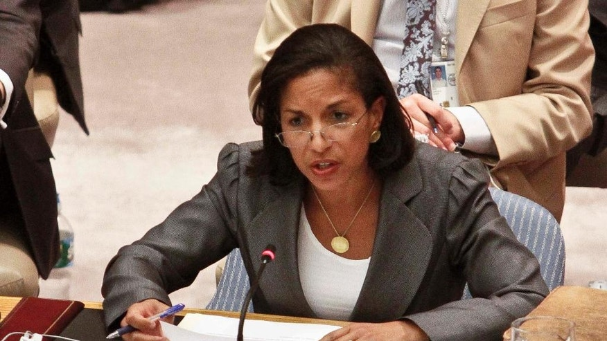FILE - In this Aug. 30, 2012 file photo, then-U.S. Ambassador to the UN Susan Rice speaks at UN headquarters. President-elect Donald Trump choice for UN ambassador, South Carolina Gov. Nikki Haley, has limited foreign policy experience. That's in contrast to other U.N. ambassadors who had deep roots in international affairs at the time of their nominations.  (AP Photo/Bebeto Matthews, File)