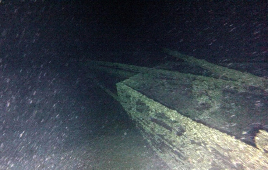 "In this undated photo provided by Roger Pawlowski, the bow area of the ""Black Duck"" is shown in 350 feet of water off Oswego, N.Y. Underwater explorers say they've found the 144-year-old Lake Ontario shipwreck of the rare sailing vessel that typically wasn't used on the Great Lakes. The 51-foot-long, single-masted ship known as a scow-sloop sank during a gale while hauling goods along the lake's eastern end in August 1872. (Roger Pawlowski via AP)"