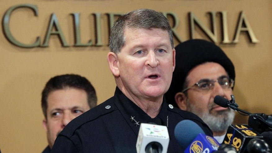 Los Angeles Police Deputy Chief Michael Downing speaks during a news conference at the Islamic Center of Southern California in Los Angeles, Monday, Nov. 28, 2016. Government officials have condemned a hate-filled letter received by several California mosques that said Muslims would be exterminated by President-elect Donald Trump. Downing said that Los Angeles police are investigating two letters received by mosques in the city as a hate incident, but not a crime at this point. (AP Photo/Nick Ut)