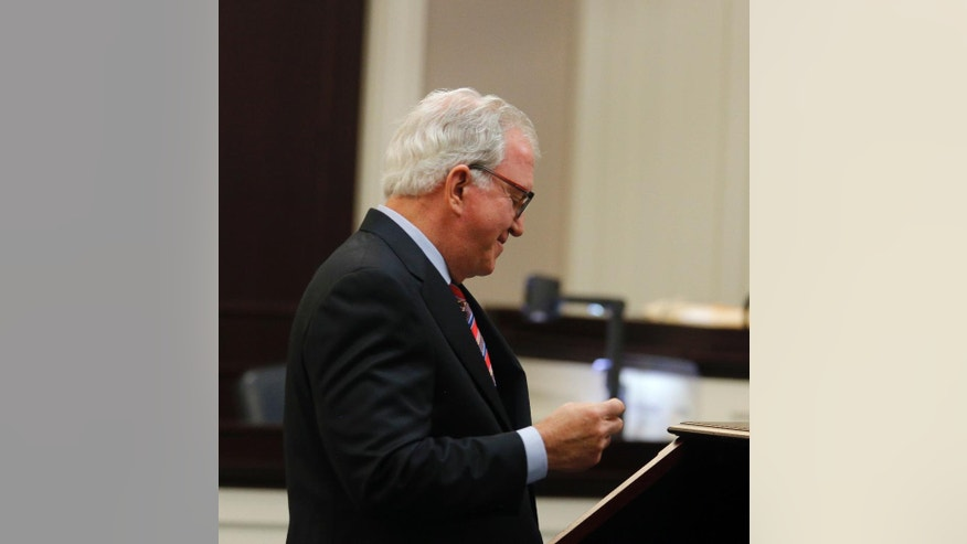 Defense attorney Andy Savage speaks in court during the murder trial of former North Charleston police officer Michael Slager at the Charleston County court in Charleston, S.C., Monday, Nov. 28, 2016. A judge is considering whether jurors will visit the spot where a white former South Carolina police officer is accused of shooting and killing an unarmed black man in North Charleston. (Grace Beahm/Post and Courier via AP, Pool)