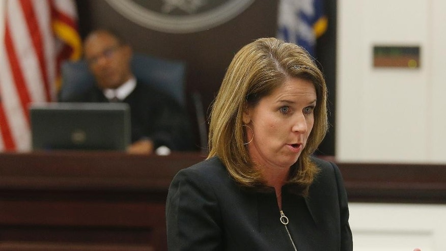 Ninth Circuit Solicitor Scarlett Wilson speaks to the jury during the murder trial of North Charleston police officer Michael Slager at the Charleston County court in Charleston, S.C., Wednesday, Nov. 30, 2016. Closing arguments are underway in a South Carolina courtroom in the trial of a white former police officer charged with murder in the shooting death of an unarmed black motorist. (Grace Beahm/Post and Courier via AP, Pool)